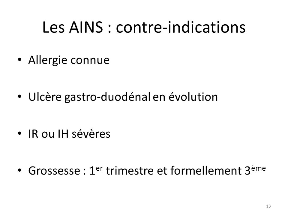 Les AINS : contre-indications