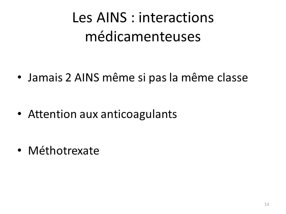 Les AINS : interactions médicamenteuses