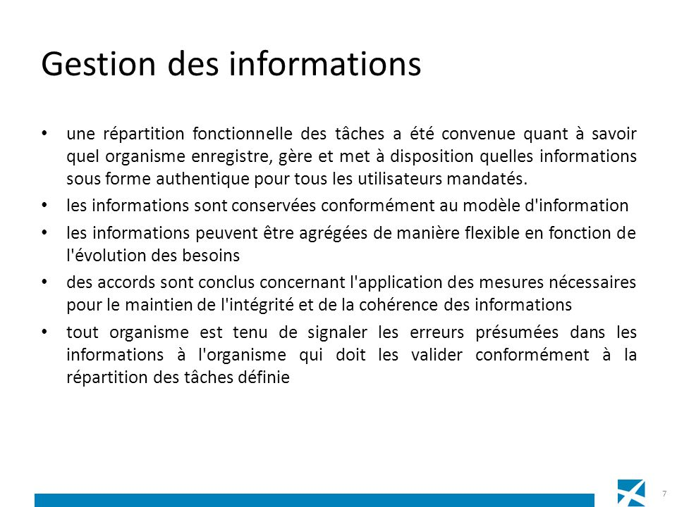 Gestion des informations