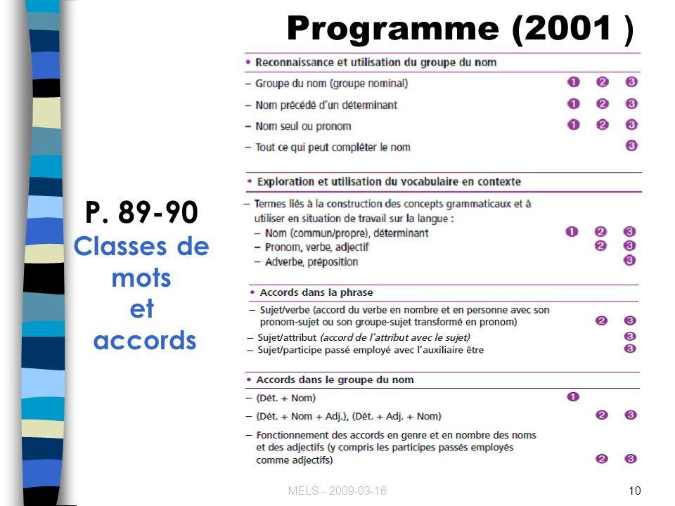 Programme (2001 ) P. 89-90 Classes de mots et accords