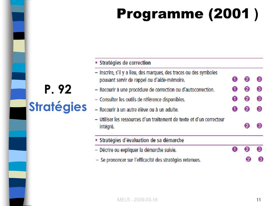 Programme (2001 ) P. 92 Stratégies