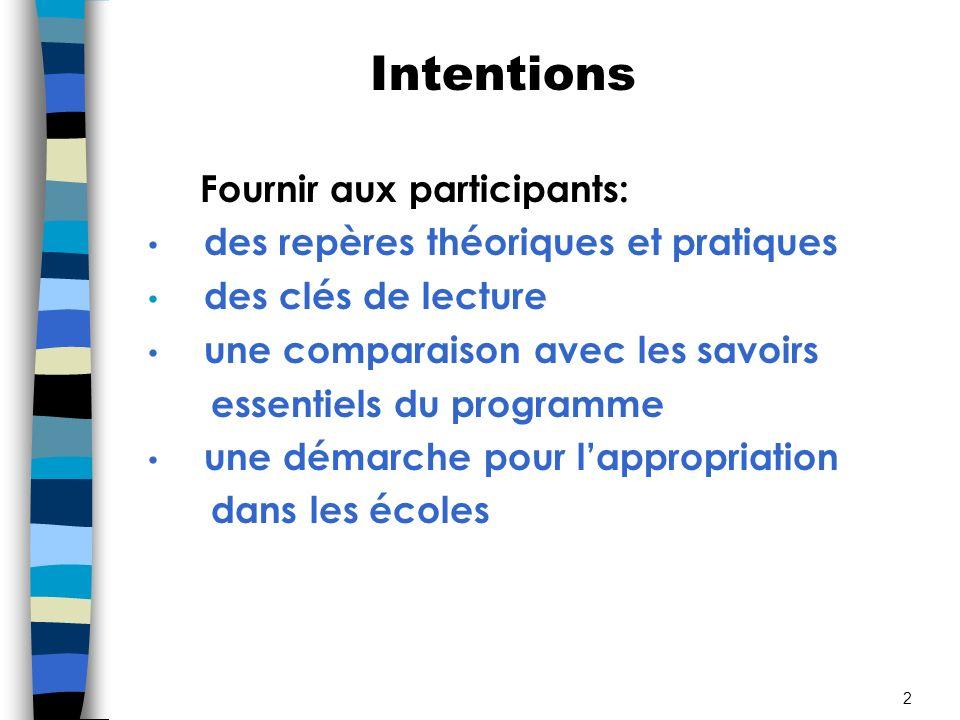 Intentions Fournir aux participants: