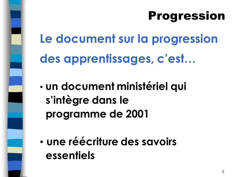 Le document sur la progression des apprentissages, c'est…