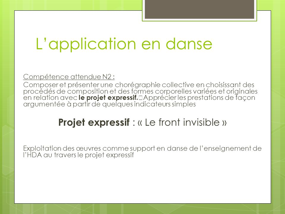L'application en danse