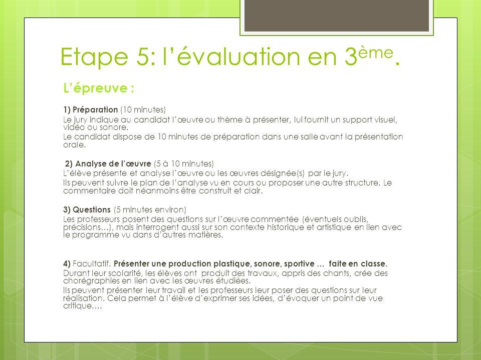 Etape 5: l'évaluation en 3ème.