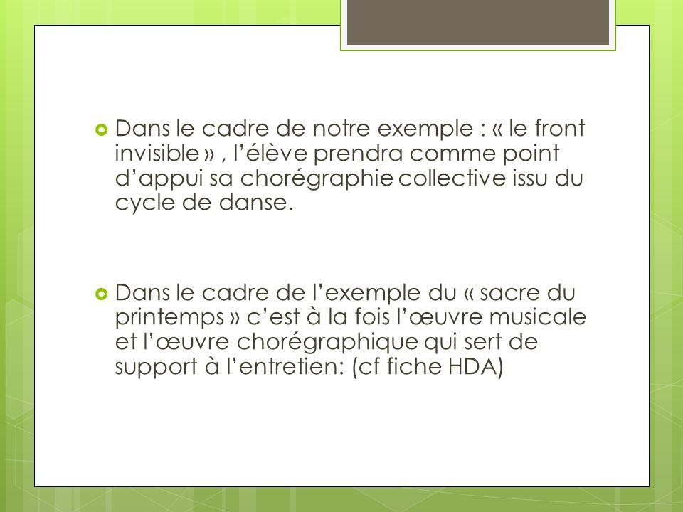 Dans le cadre de notre exemple : « le front invisible » , l'élève prendra comme point d'appui sa chorégraphie collective issu du cycle de danse.