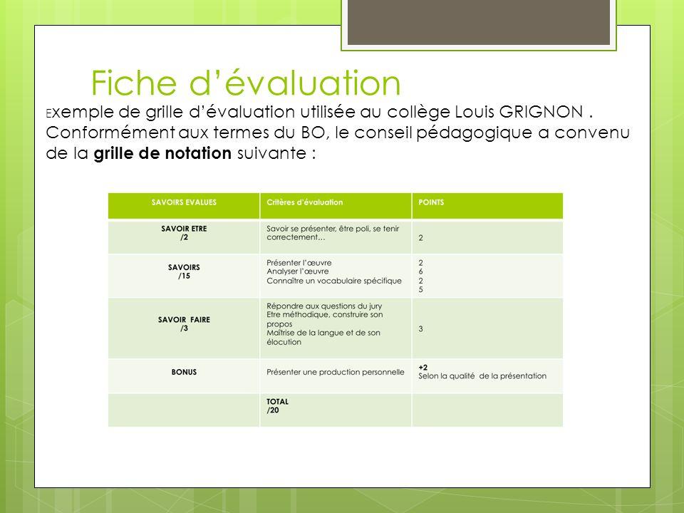 Fiche d'évaluation Exemple de grille d'évaluation utilisée au collège Louis GRIGNON .