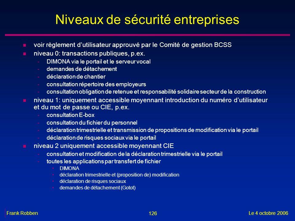 Niveaux de sécurité entreprises