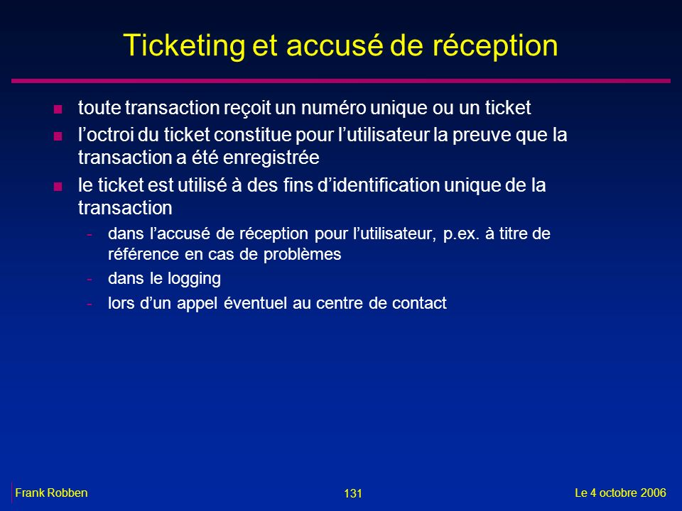 Ticketing et accusé de réception