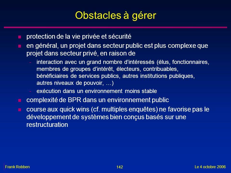 Obstacles à gérer protection de la vie privée et sécurité