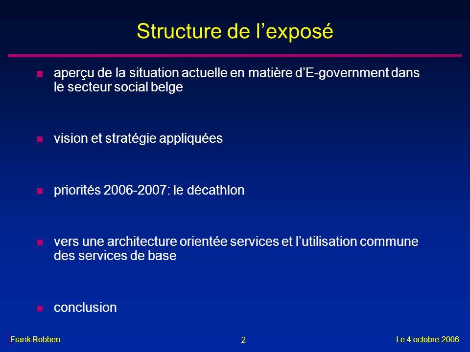 Structure de l'exposé aperçu de la situation actuelle en matière d'E-government dans le secteur social belge.