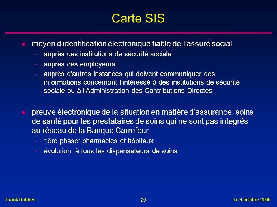 Carte SIS moyen d'identification électronique fiable de l'assuré social. auprès des institutions de sécurité sociale.