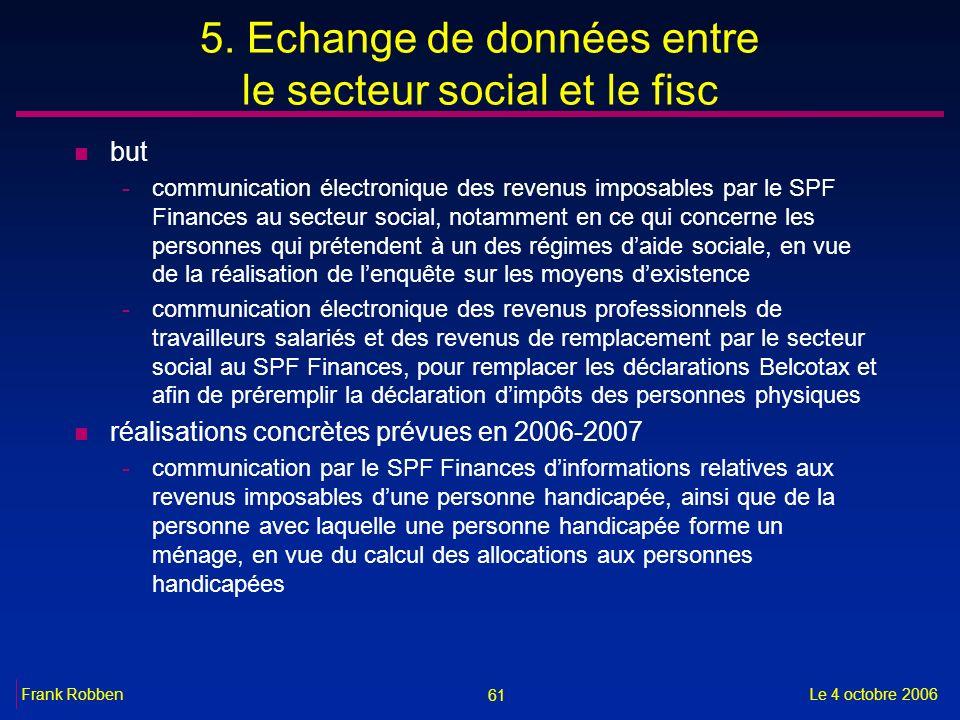 5. Echange de données entre le secteur social et le fisc