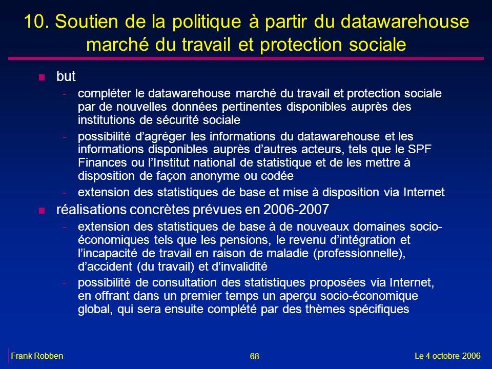 10. Soutien de la politique à partir du datawarehouse marché du travail et protection sociale