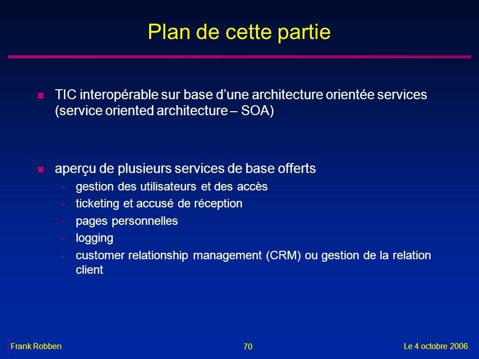 Plan de cette partie TIC interopérable sur base d'une architecture orientée services (service oriented architecture – SOA)