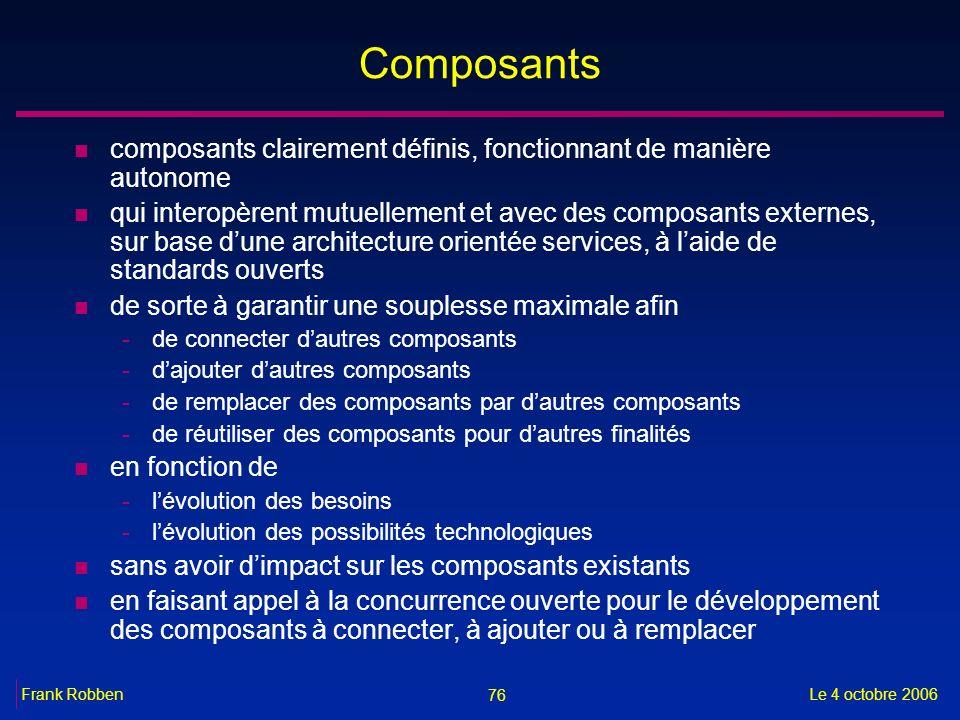 Composants composants clairement définis, fonctionnant de manière autonome.