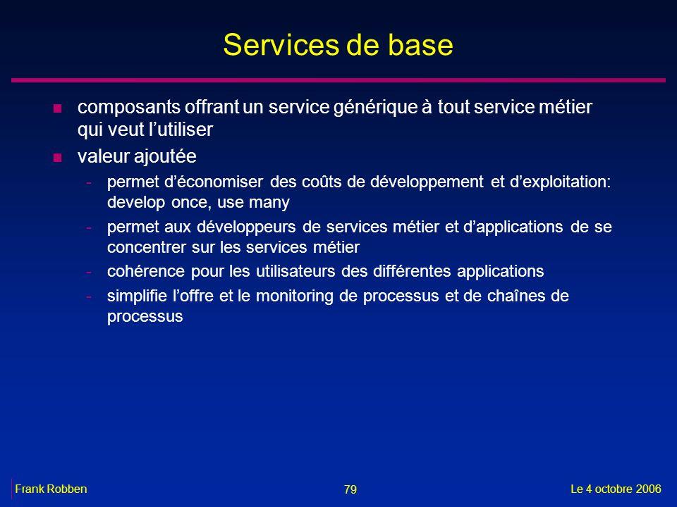 Services de base composants offrant un service générique à tout service métier qui veut l'utiliser.