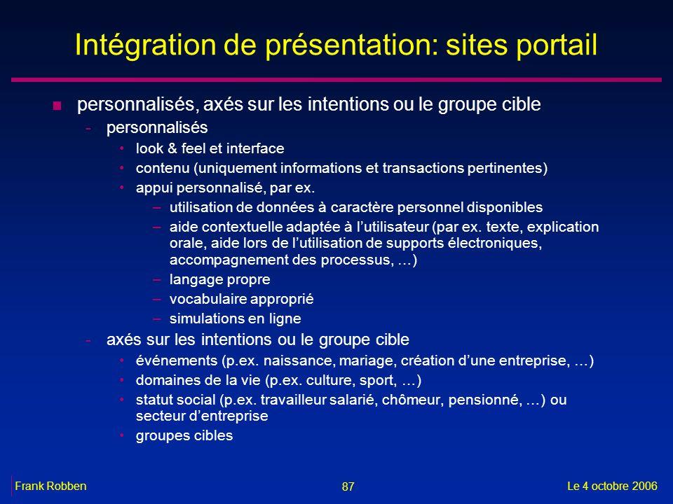Intégration de présentation: sites portail