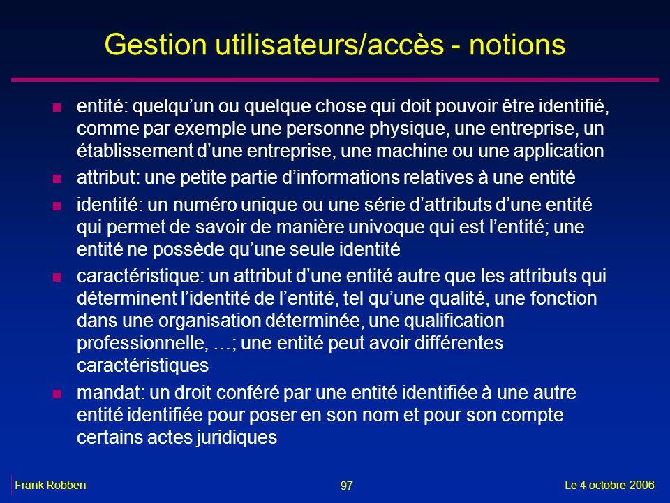Gestion utilisateurs/accès - notions