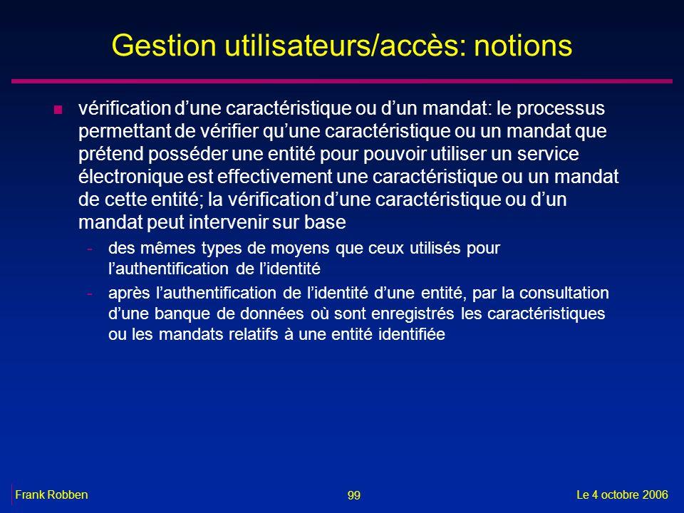 Gestion utilisateurs/accès: notions