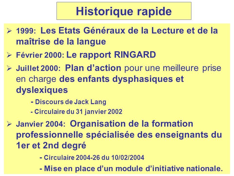 Historique rapide 1999: Les Etats Généraux de la Lecture et de la maîtrise de la langue. Février 2000: Le rapport RINGARD.