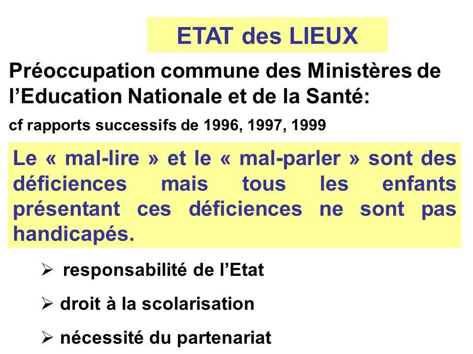 ETAT des LIEUX Préoccupation commune des Ministères de l'Education Nationale et de la Santé: cf rapports successifs de 1996, 1997, 1999.