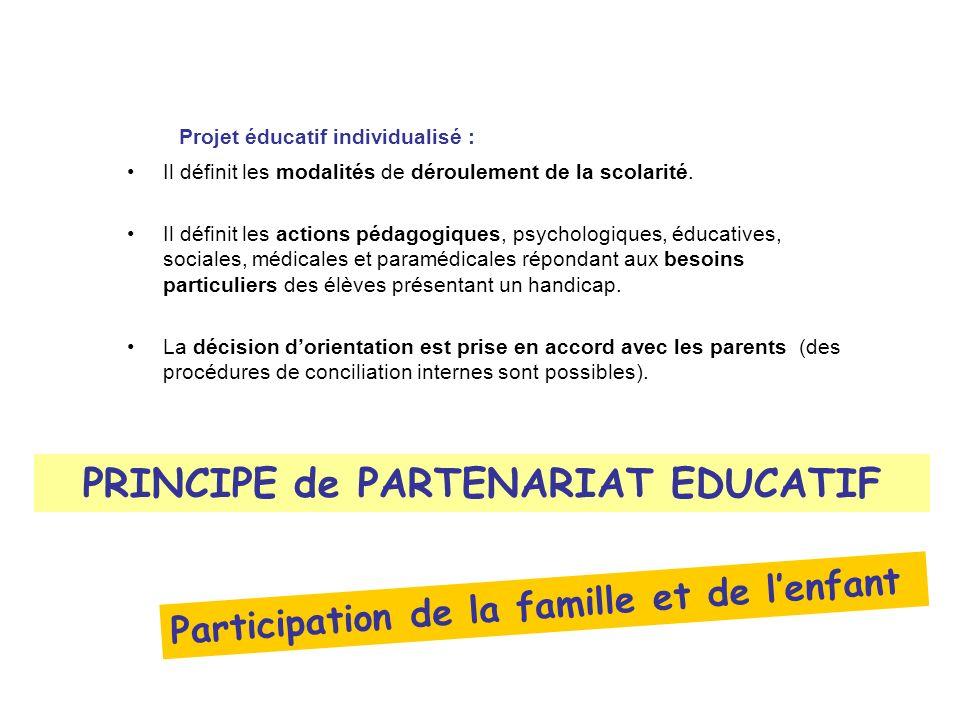 PRINCIPE de PARTENARIAT EDUCATIF