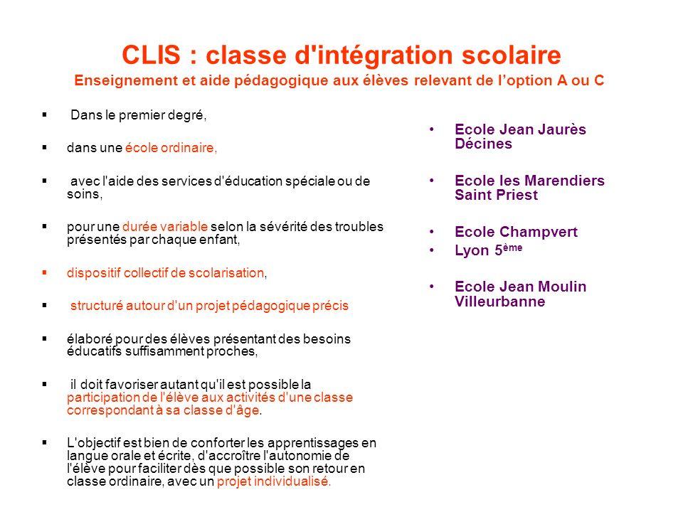 CLIS : classe d intégration scolaire Enseignement et aide pédagogique aux élèves relevant de l'option A ou C