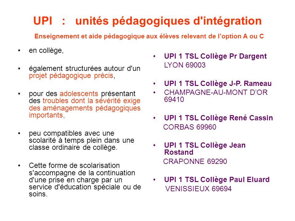 UPI : unités pédagogiques d intégration Enseignement et aide pédagogique aux élèves relevant de l'option A ou C