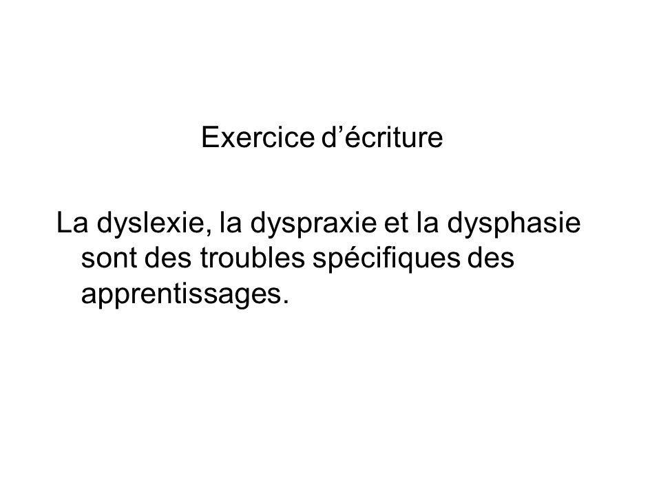 Exercice d'écriture La dyslexie, la dyspraxie et la dysphasie sont des troubles spécifiques des apprentissages.
