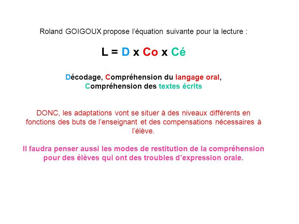 Roland GOIGOUX propose l'équation suivante pour la lecture :