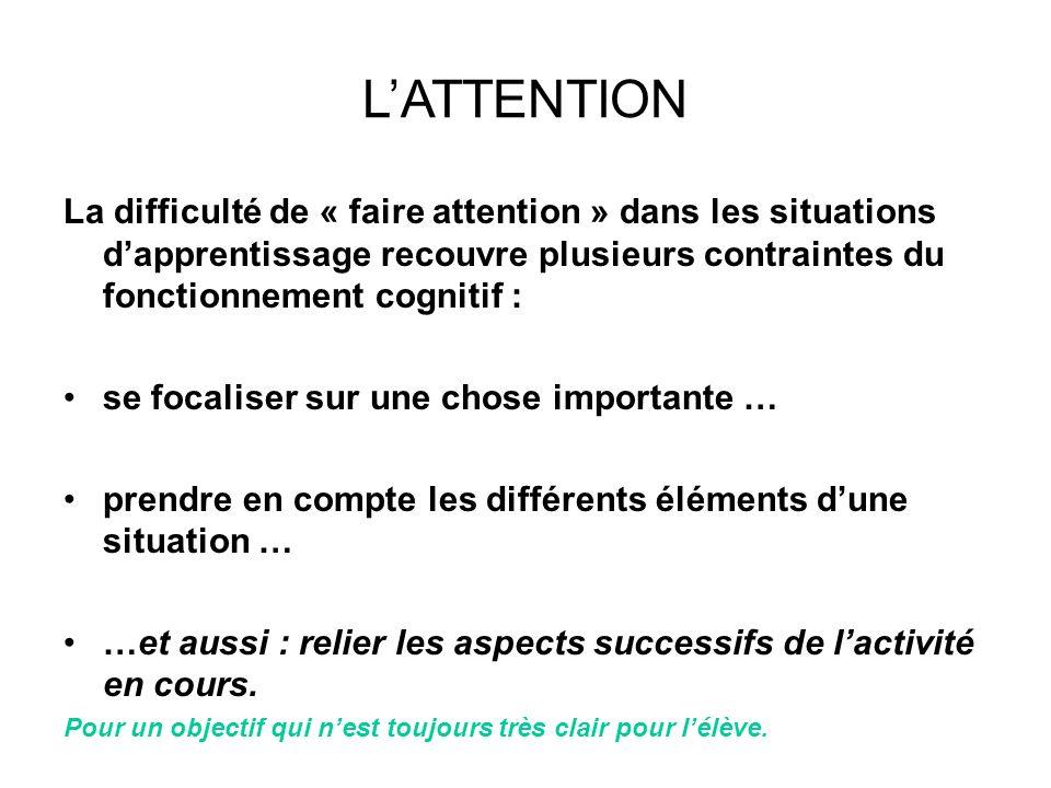 L'ATTENTION La difficulté de « faire attention » dans les situations d'apprentissage recouvre plusieurs contraintes du fonctionnement cognitif :