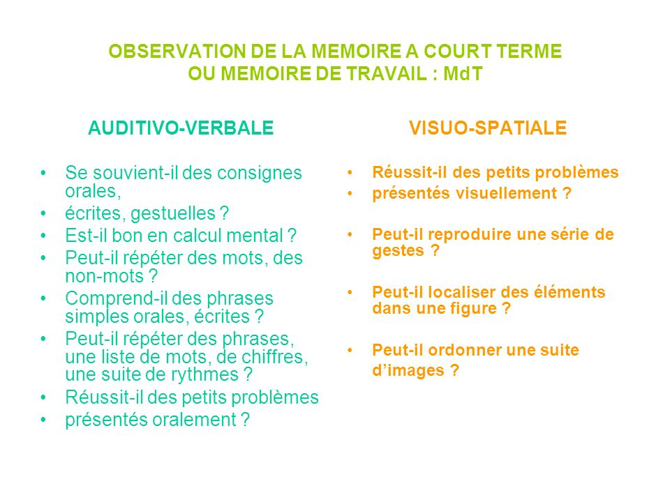 OBSERVATION DE LA MEMOIRE A COURT TERME OU MEMOIRE DE TRAVAIL : MdT