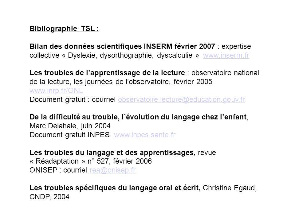 Bibliographie TSL :
