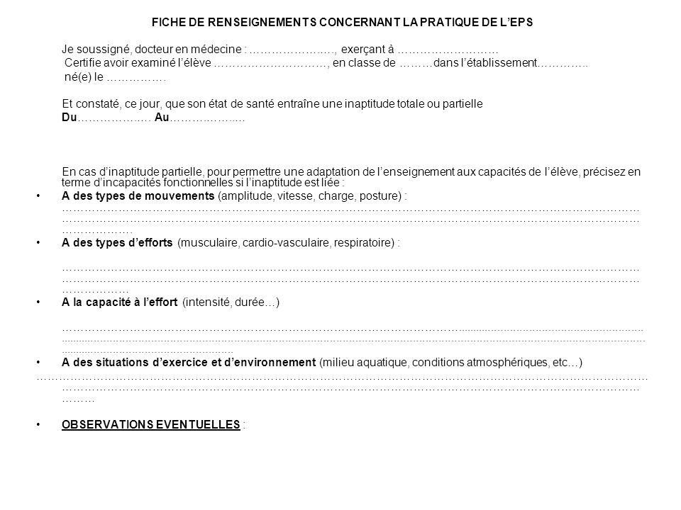 FICHE DE RENSEIGNEMENTS CONCERNANT LA PRATIQUE DE L'EPS