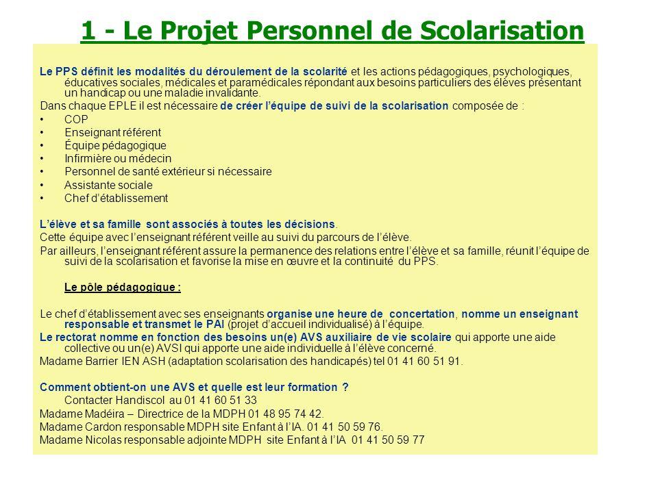 1 - Le Projet Personnel de Scolarisation