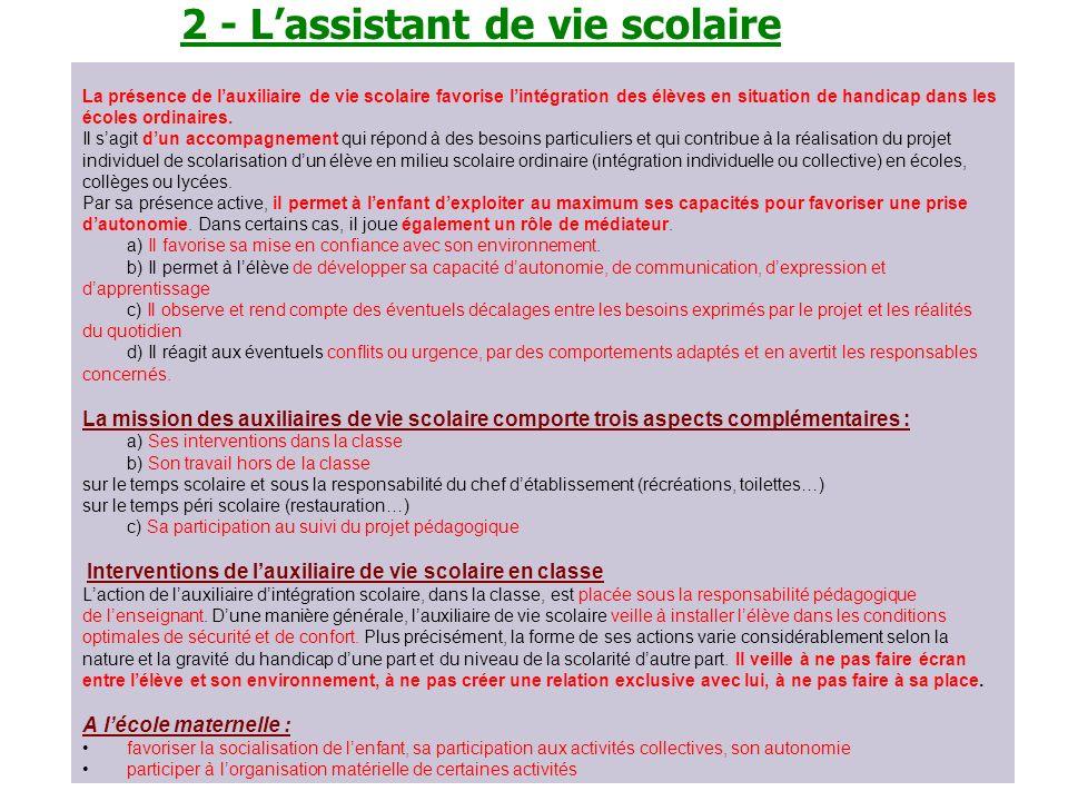 2 - L'assistant de vie scolaire