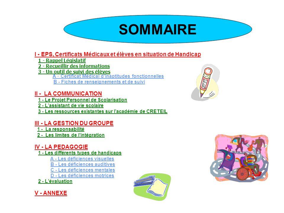 SOMMAIRE III - LA GESTION DU GROUPE IV - LA PEDAGOGIE
