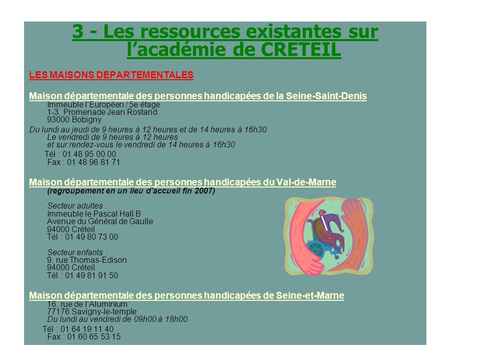 3 - Les ressources existantes sur l'académie de CRETEIL
