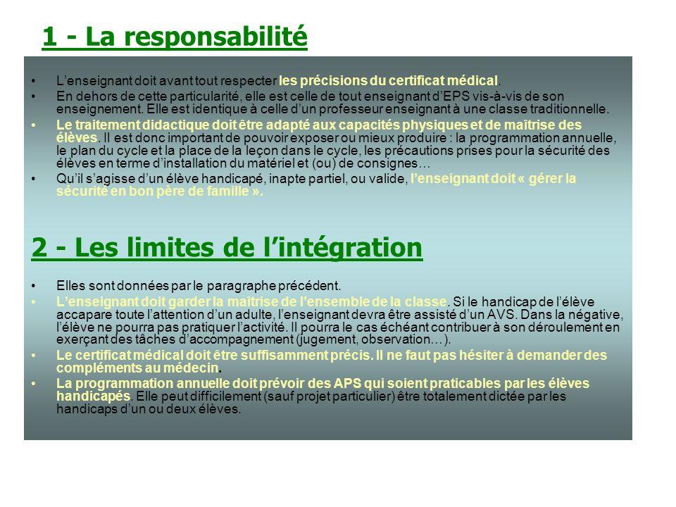 2 - Les limites de l'intégration