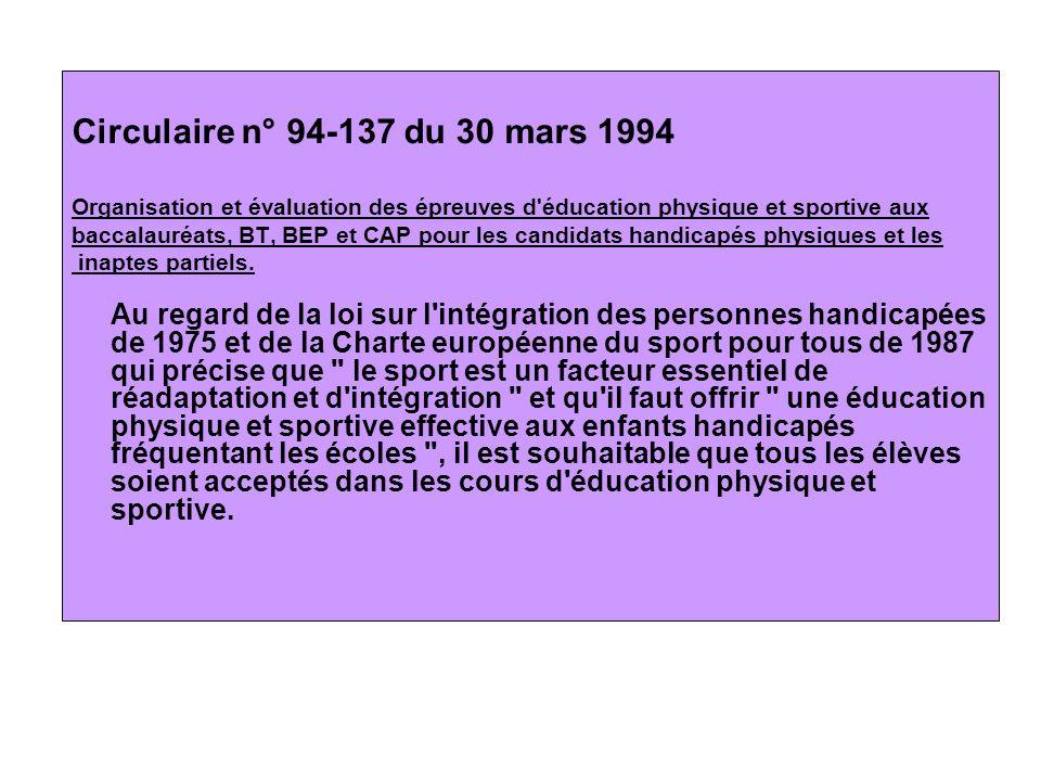 Circulaire n° 94-137 du 30 mars 1994 Organisation et évaluation des épreuves d éducation physique et sportive aux.