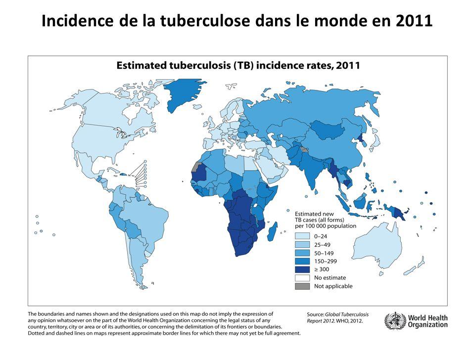 Incidence de la tuberculose dans le monde en 2011