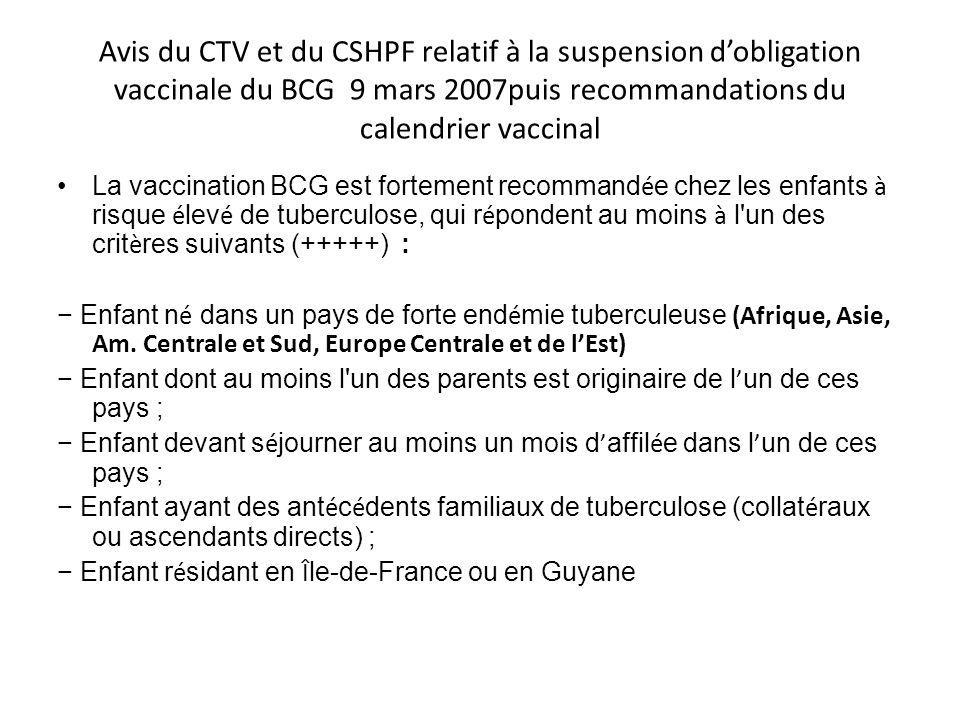 Avis du CTV et du CSHPF relatif à la suspension d'obligation vaccinale du BCG 9 mars 2007puis recommandations du calendrier vaccinal