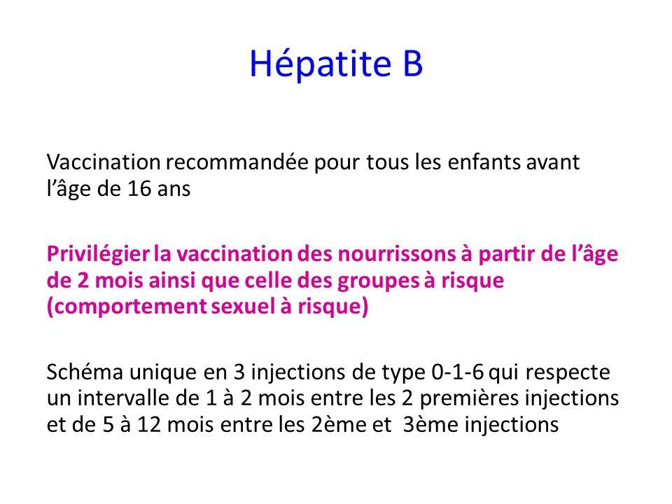 Hépatite B Vaccination recommandée pour tous les enfants avant l'âge de 16 ans.