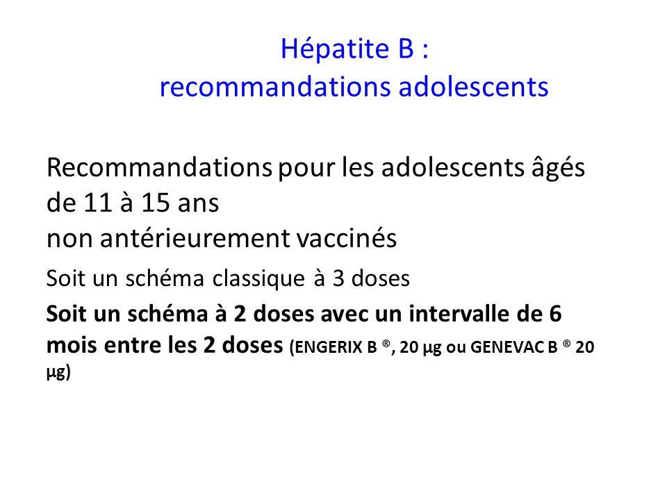 Hépatite B : recommandations adolescents