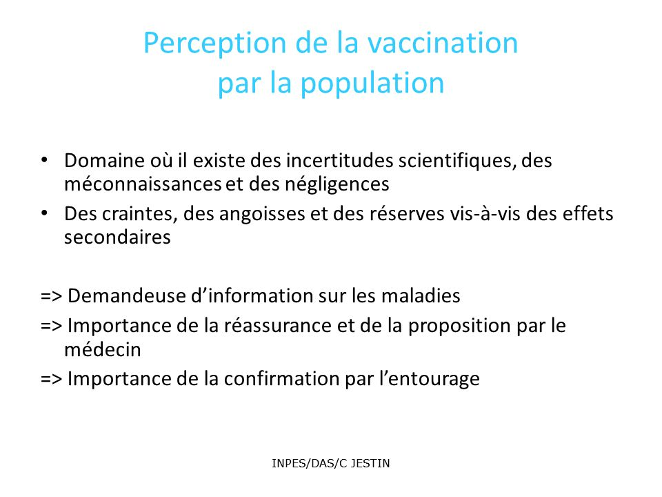 Perception de la vaccination par la population