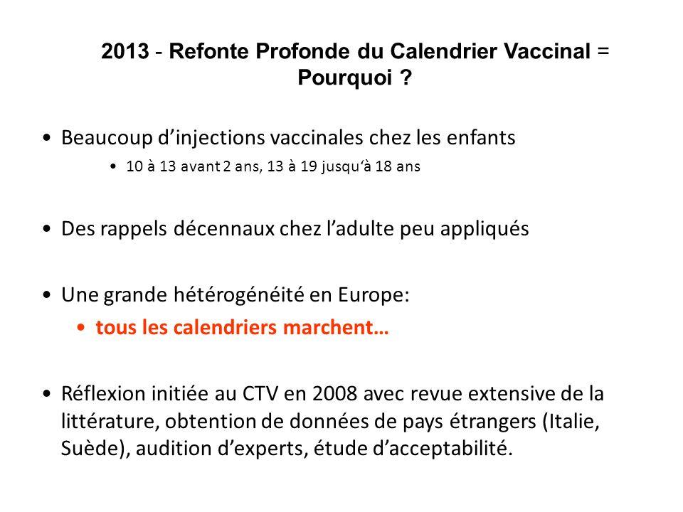 2013 - Refonte Profonde du Calendrier Vaccinal = Pourquoi