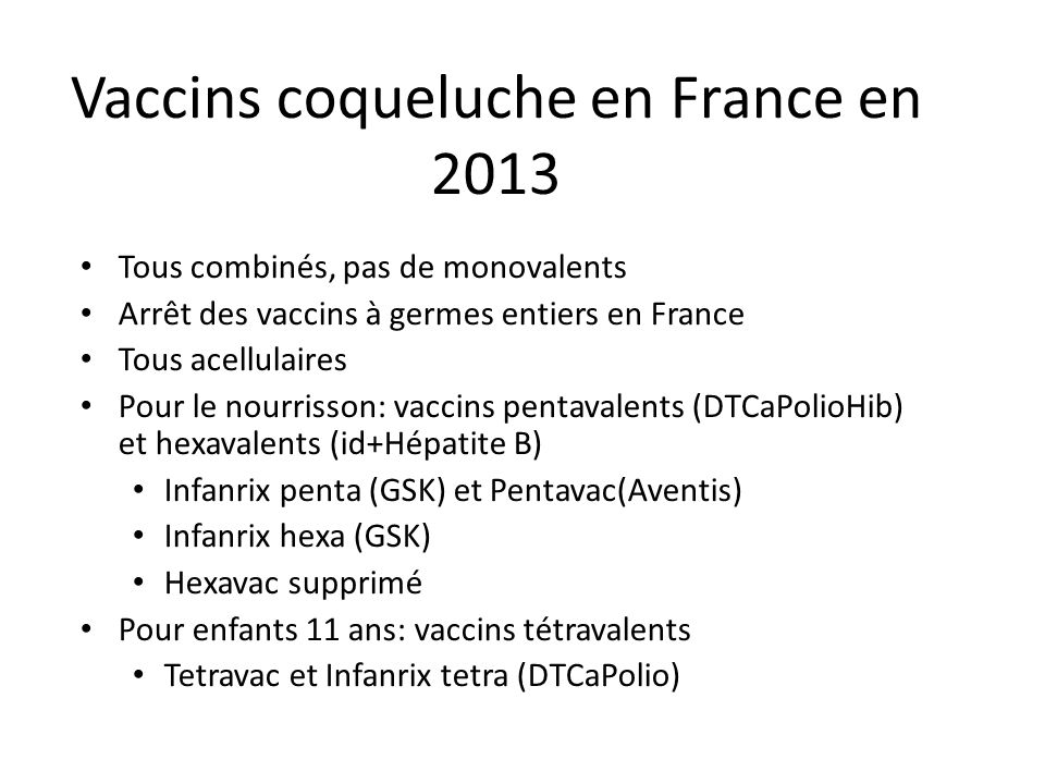 Vaccins coqueluche en France en 2013