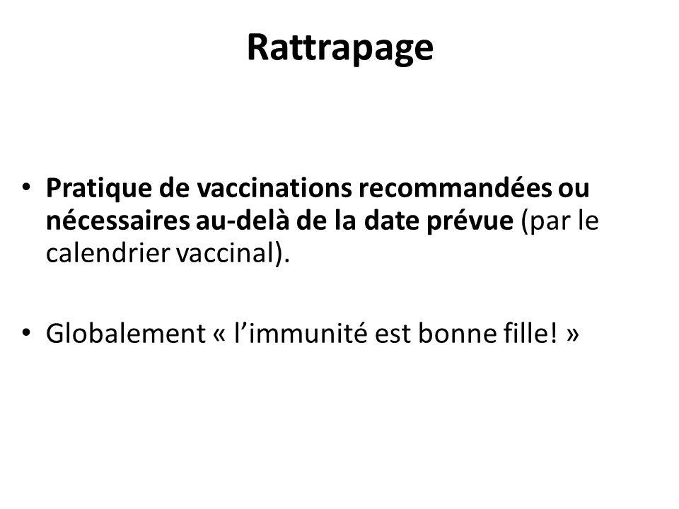 Rattrapage Pratique de vaccinations recommandées ou nécessaires au-delà de la date prévue (par le calendrier vaccinal).