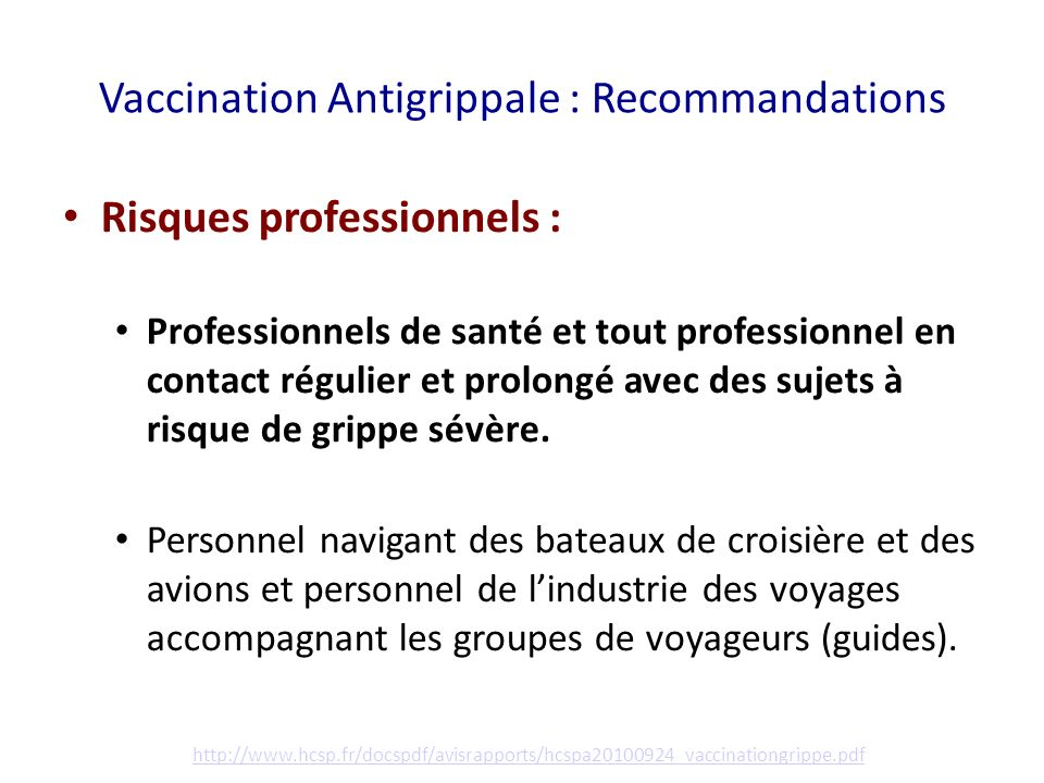 Vaccination Antigrippale : Recommandations